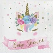 16 Tovaglioli Unicorn Baby Baby Shower