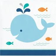 16 Tovagliolini Balena Blu