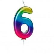 Candela Rainbow Numero 6 - 7 cm