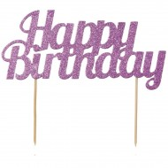 Cake Topper Happy Birthday con Paillette - Rosa