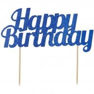 Cake Topper Happy Birthday con Paillette - Blu