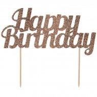 Cake Topper Happy Birthday con Paillette - Rosa Gold
