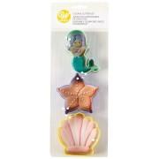 Wilton Set da 3 formine tagliabiscotti sirena