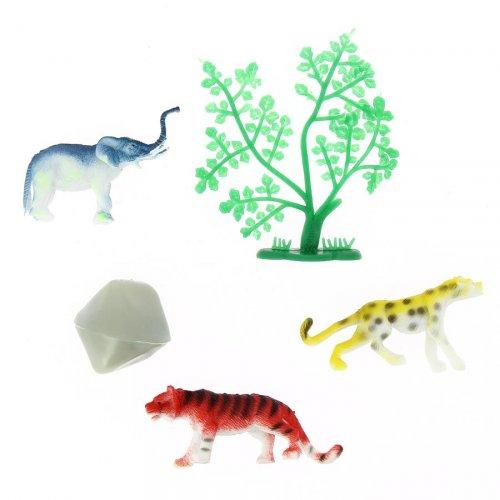 Set di 3 animali della giungla + scenario