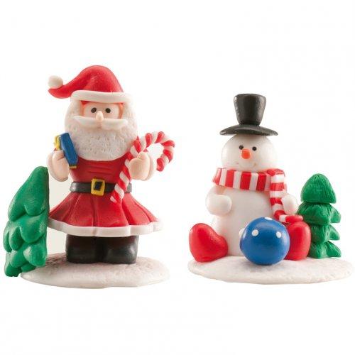 1 Babbo Natale e 1 pupazzo di neve su una base