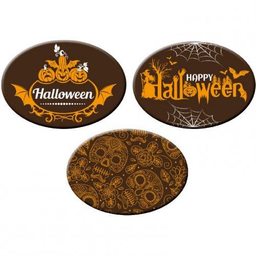 """3 Decorazioni ovali di cioccolato """"Halloween Fun"""" (5 cm)"""