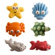 6 Decorazioni in pasta di zucchero 3D - Animali marini (3 cm)