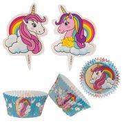 Kit 24  Pirottini + 24 decorazioni per cupcake unicorno magico
