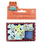 Mini francobolli di compleanno + inchiostro blu