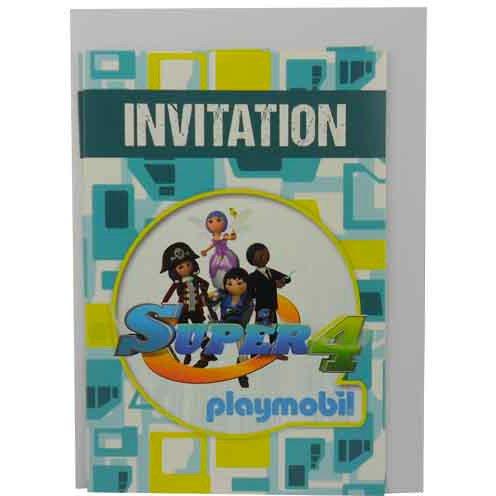 6 Inviti Super 4 Playmobil
