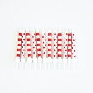 12 Candele  a pois e righe  - Rosso