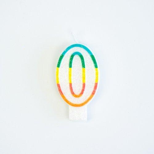Candela Numero 0 Rainbow Glitter