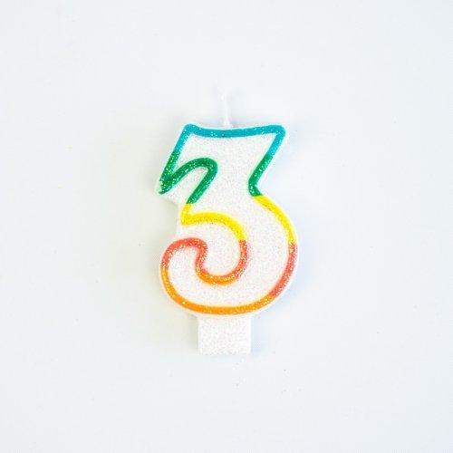 Candela Numero 3 Arcobaleno Glitter