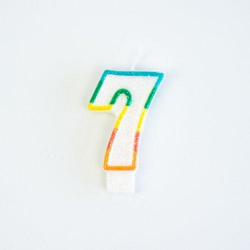 Candela Numero 7 Arcobaleno Glitter