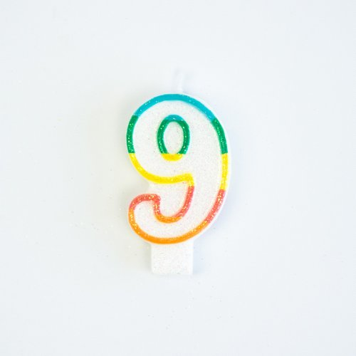 Candela Numero 9 Arcobaleno Glitter