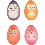 4 Uova di Pasqua Animali 3D (3,7 cm) - Cioccolato Bianco