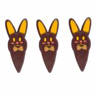 3 Stecchini Decorativi con Testa di Coniglio - Cioccolato Fondente