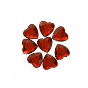 50 Coriandoli diamanti rossi (1,5 cm) - Forma cuore - Plastica