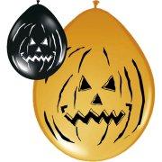 Lotto di 8 palloncini Halloween Pumpkin nero/arancione