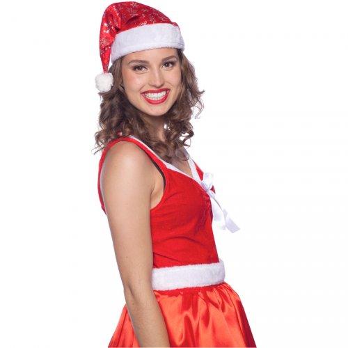 Cappello Babbo Natale con fiocchi di neve (bambino/adulto)