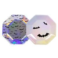 Contiene : 1 x 6 Piatti Halloween Iridescenti Pastello