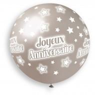 1 palloncino argento Happy Birthday Ø80cm
