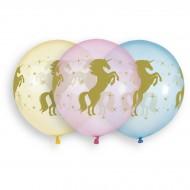 3 palloncini unicorno Ø48cm