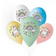 5 palloncini Unicorno Arcobaleno Ø33cm