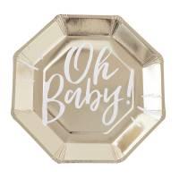 Contiene : 1 x 8 Piatti Gold - Oh Baby!