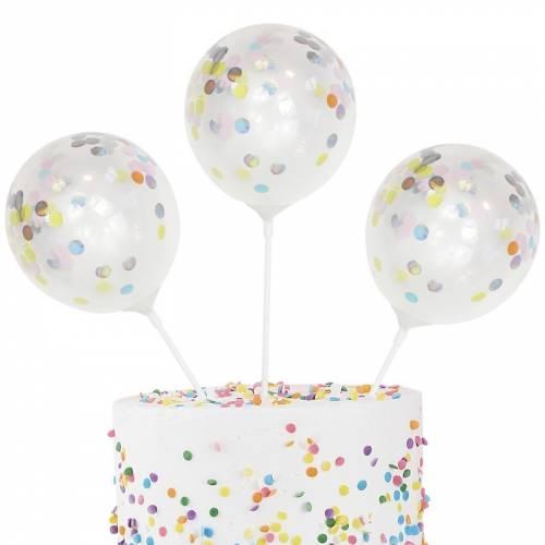 5 Topper con palloncini a pois pastello