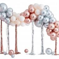 Kit arco da 95 palloncini in metallo - oro rosa/argento/avorio