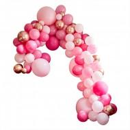 Kit arco deluxe da 200 palloncini - Oro rosa metallizzato/rosa