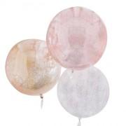 3 palloncini Orbz - bianco/rosa/oro metallico glitterato