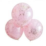 3 palloncini a doppio strato coriandoli - rosa/oro rosa