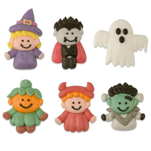 6 Decorazioni piatte in pasta di zucchero - Halloween