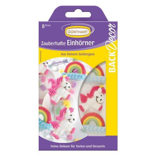 8 Decorazioni 2D in pasta di zucchero - Unicorni e arcobaleni