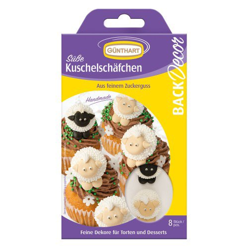 8 Decorazioni 2D in pasta di zucchero - Pecore bianche/nere - Zucchero