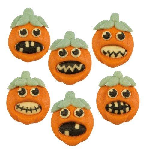 6 Decorazioni 2D in pasta di zucchero per Halloween - Zucche (3 cm)