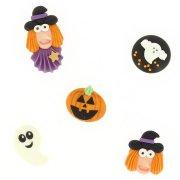 5 Decorazioni 2D in pasta di zucchero per Halloween - Streghe e fantasmi