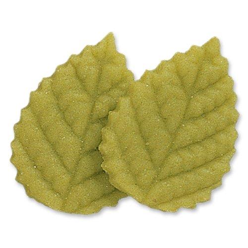 2 Grandi foglie 2D (4 cm) - Pasta di mandorle