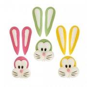 3 Decorazioni 2D in pasta di zucchero - Teste di coniglio