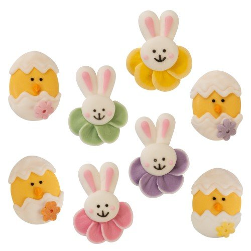 8 Mini decorazioni pasquali 2D (3 e 3,5 cm) - Pasta di zucchero