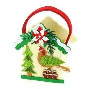 Borsa Casetta di Natale Bianca (18 cm) - Pannolenci