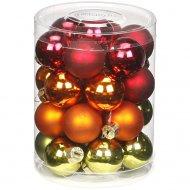 28 Mini palle rosso/verde/arancione (3 cm) - Vetro