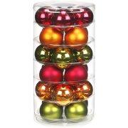 24 Palle di Natale Rosso/Verde/Arancio (6 cm) - Vetro