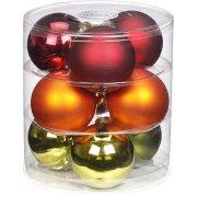 9 Palle Maxi di Natale Rosso/Arancio/Verde (9 cm) - Vetro
