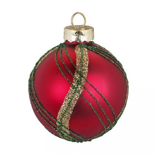 Palla di Natale Tartan Rosso (6 cm) - Vetro