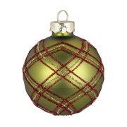 Palla di Natale Tartan verde (6 cm) - Vetro