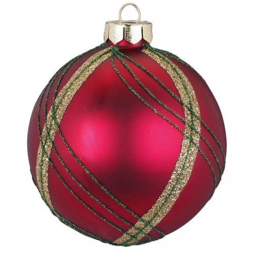 Palla di Natale Tartan Rosso (8 cm) - Vetro