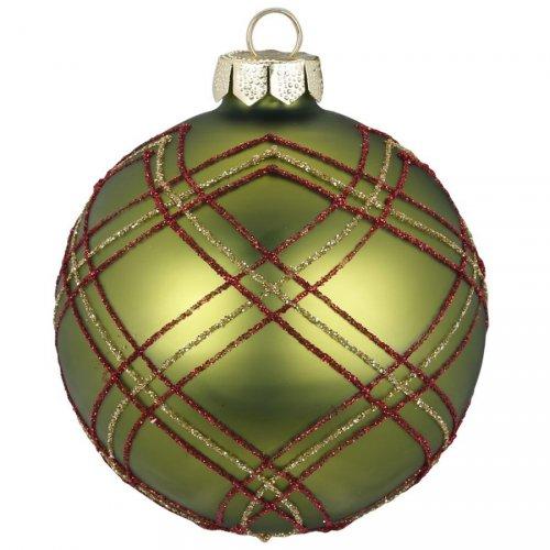 Palla di Natale Tartan verde (8 cm) - Vetro